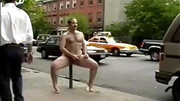 DAVID STRIPS FULL NUDE BUSY NYC AVENUE DAY AND MASTURBATES WALKING AROUND!
