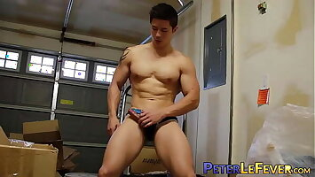 Muscle gaysian jerks off big cock after juicy nipple play